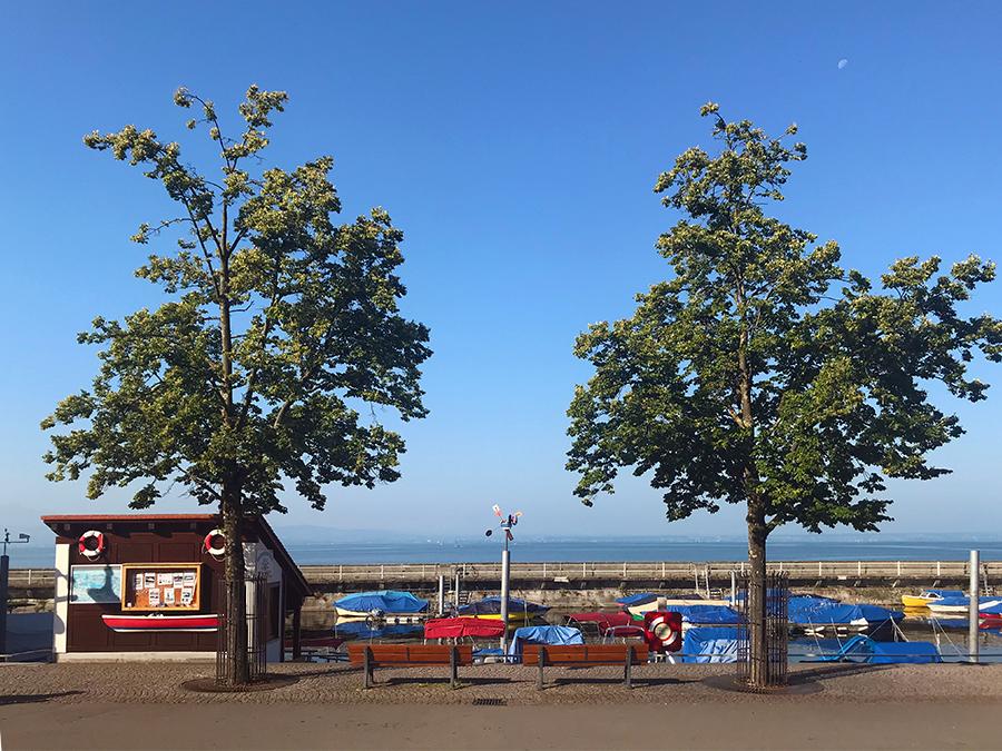 Angekommen in Friedrichshafen, mit erstem Blick auf bunte Boote am Ufer des Bodensees.