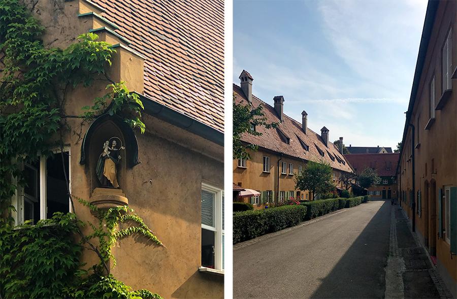 Schöne Details gibt es überall an den Häusern der Fuggerei zu entdecken, und die in der Hinteren Gasse haben sogar kleine Vorgärten.