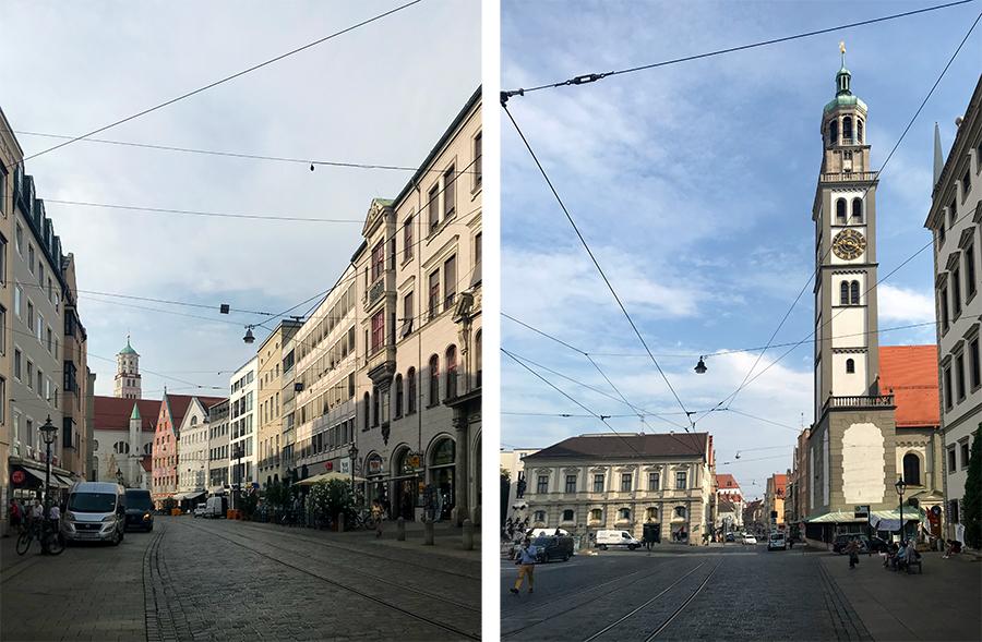 Links vom Rathaus weg führt eine Einkaufszeile, rechts entlang blickt man auf den Perlachturm, den man auch besichtigen kann.