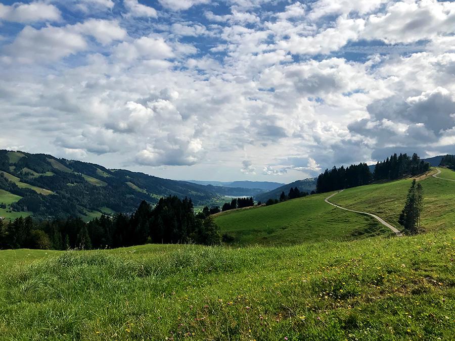 Was für ein Ausblick von hier oben, bis hin zum Großen Alpsee kann man schauen!