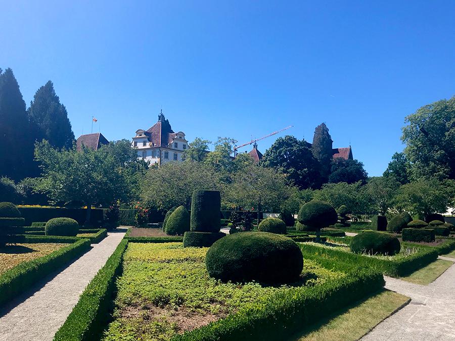 Der Hofgarten wurde nach alten Zeichnungen von Formengärten aus dem Barock angelegt.